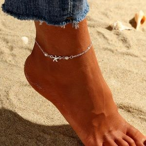 ⚜️[𝟯/$𝟭𝟴]⚜️Silver Pearl Star Fish Anklet NEW